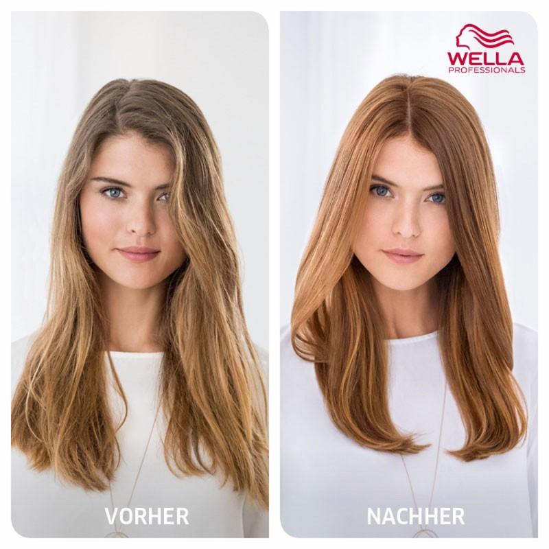 Wellaplex Färben ohne chäden vorher nachher vergleich bei dunklerem Haar