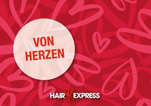 HairExpress Gutschein Trägerkarte von Herzen